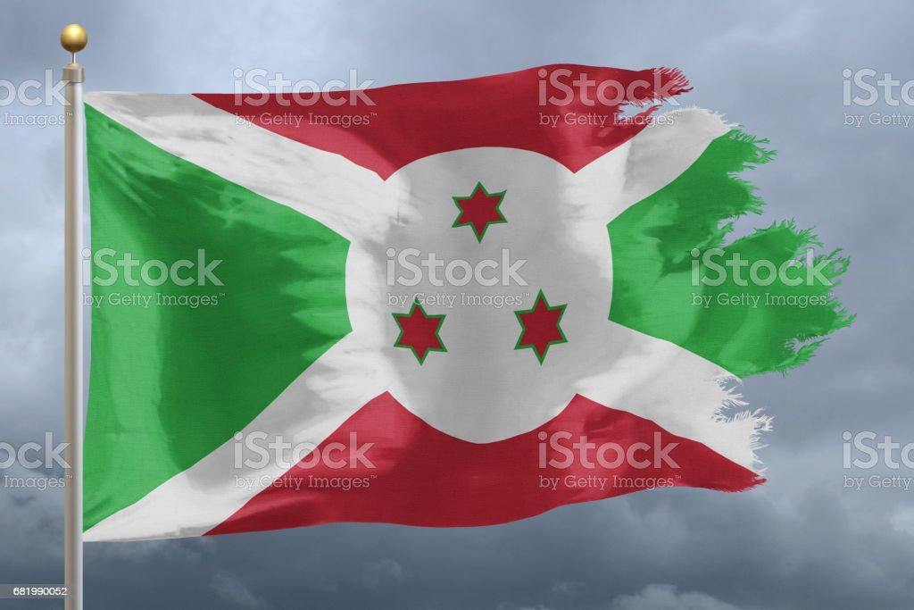 Flag of Burundi tattered stock photo