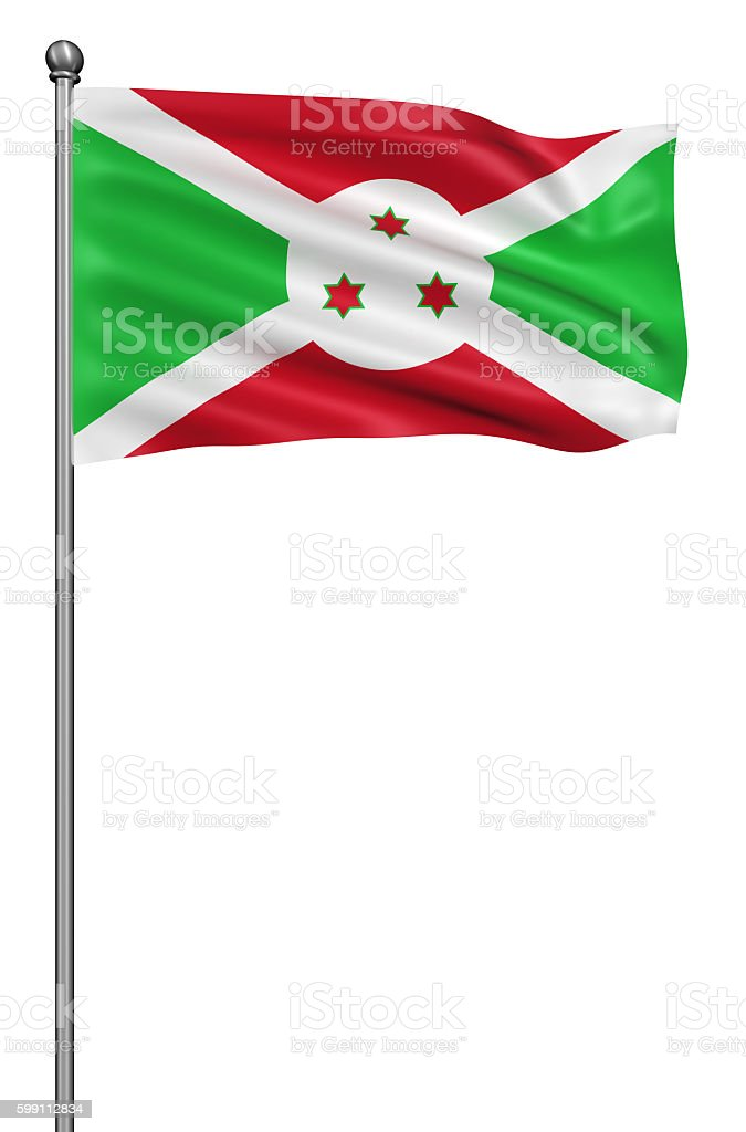 Flag of burundi with flagpole isolated on white. stock photo