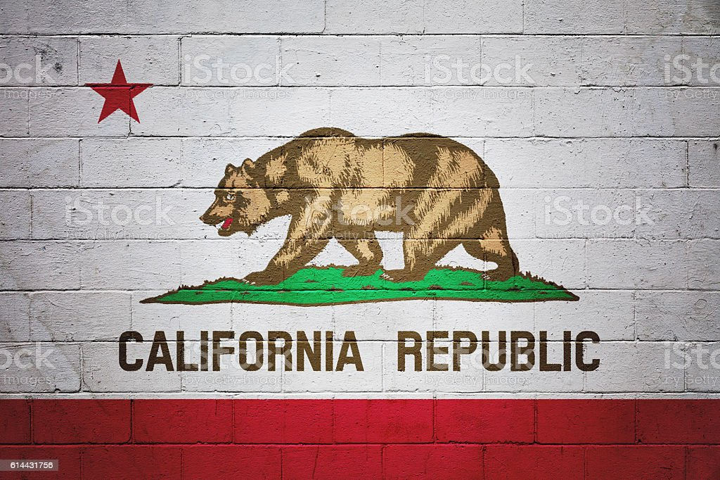Flag of California painted on a wall stock photo