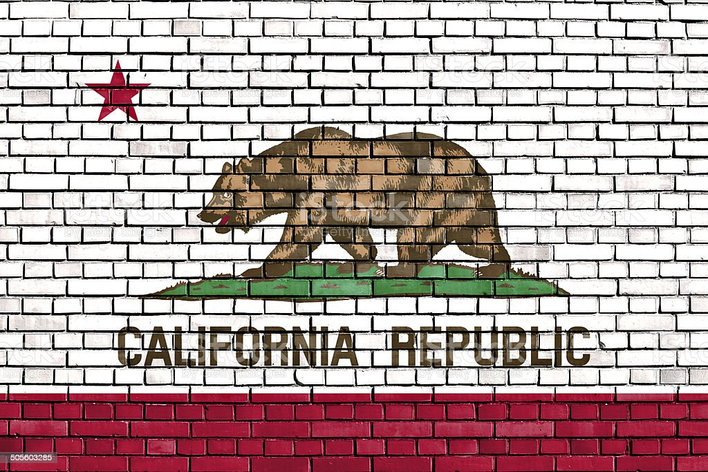 flag of California painted on brick wall stock photo