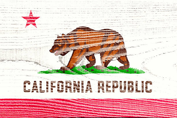 Flag Of California Painted On Grungy Wooden Background Stock Photo