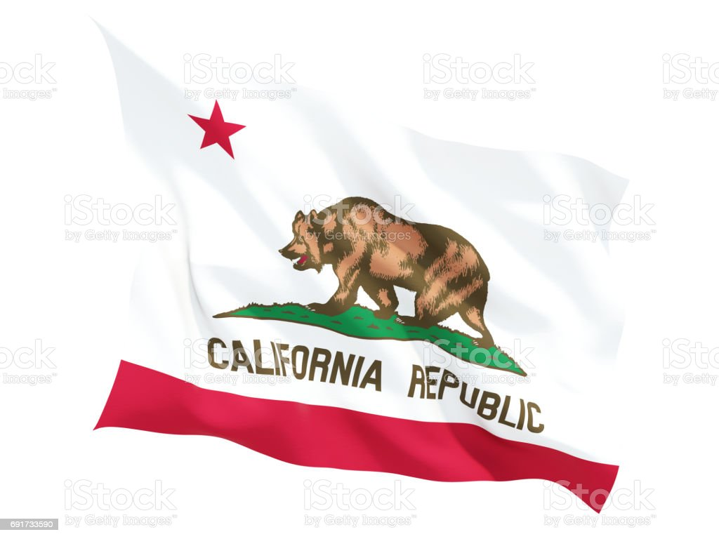 Flag of california, US state fluttering flag stock photo