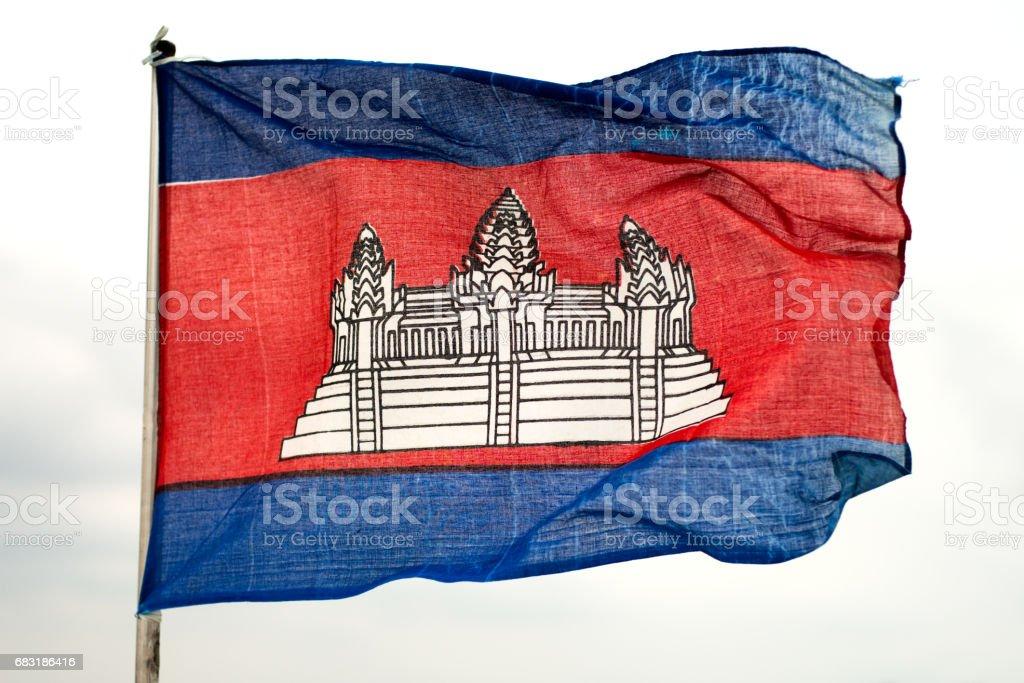 柬埔寨的旗幟 免版稅 stock photo