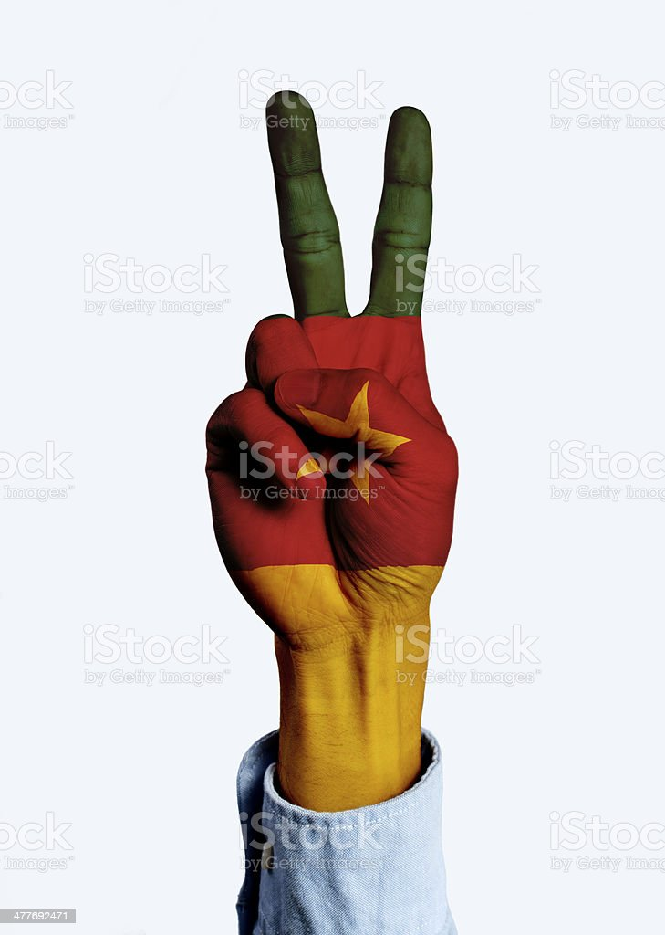 Flag of Cameroon hand sign royalty-free stock photo