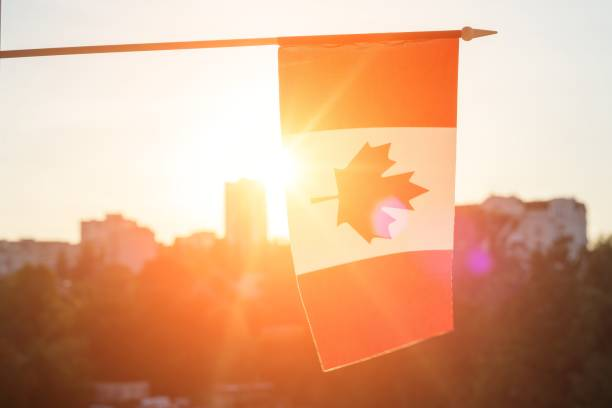 flag of canada from window sunset background - canada day stock pictures, royalty-free photos & images