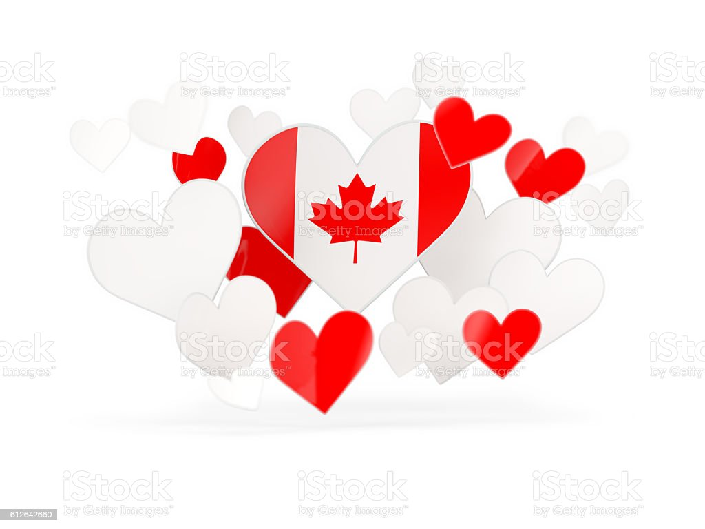flag of canada heart shaped stickers stock photo 612642660 istock