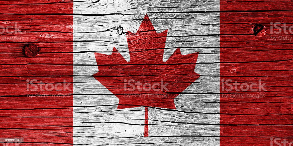 Flag of Canada on Wood royalty-free stock photo