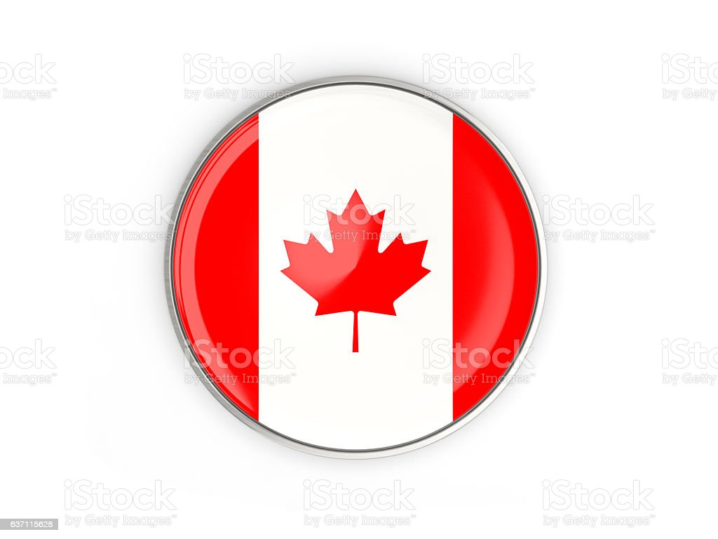 Flag of canada, round icon with metal frame stock photo