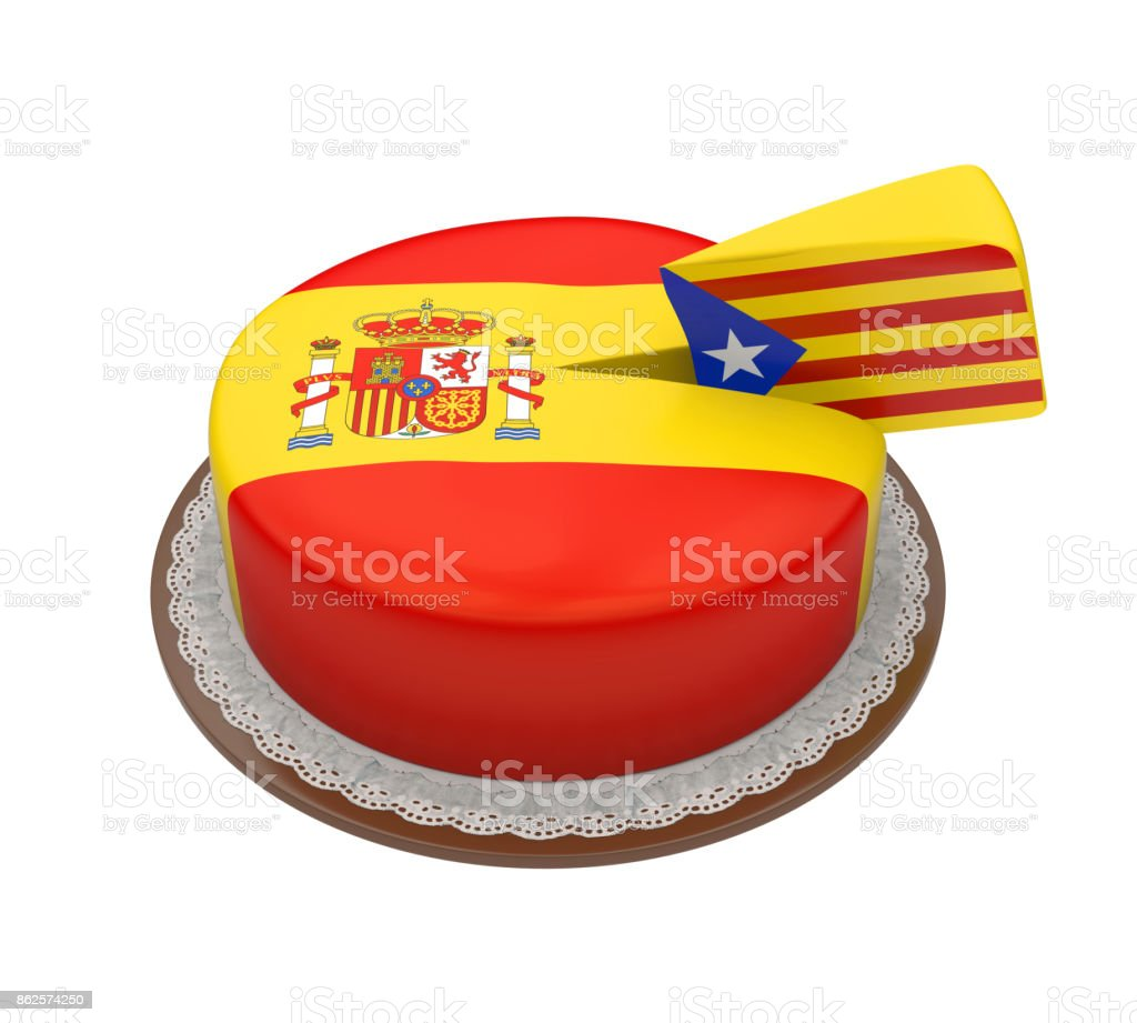 Flag of Catalonia as Piece of Spanish Cake stock photo