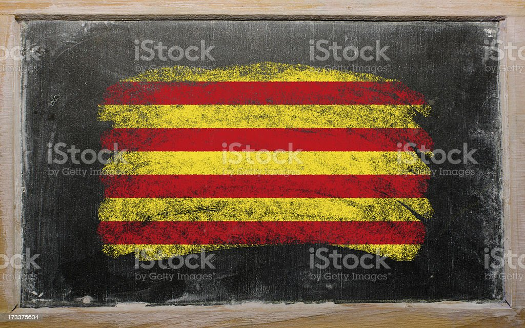flag of catalonia on blackboard painted with chalk royalty-free stock photo