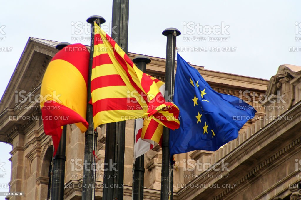 Flag of Catalonia spain and europion union - foto stock