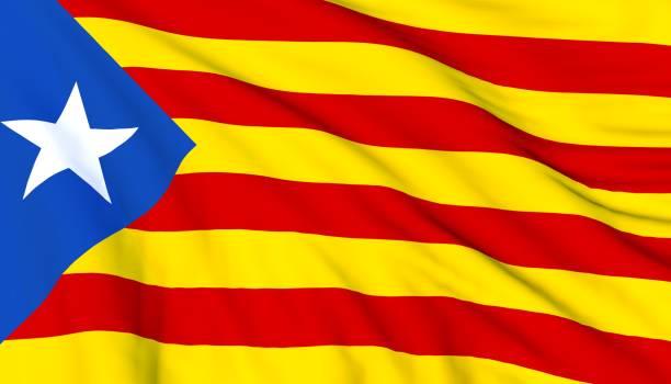 Flag of Catalonia waving. stock photo