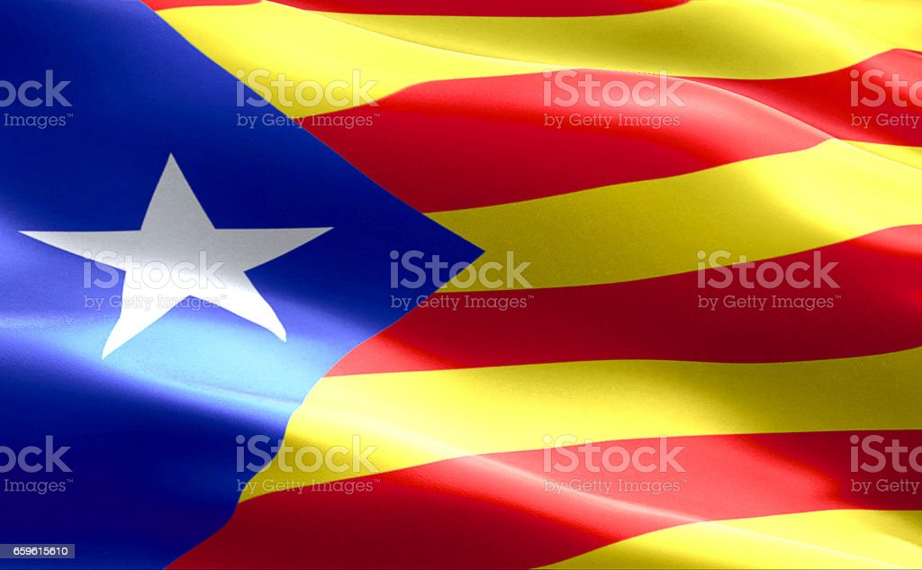 flag of catalonia yellow and red strip with star waving texture fabric background, national catalan symbol vote for separatism independence from spain stock photo
