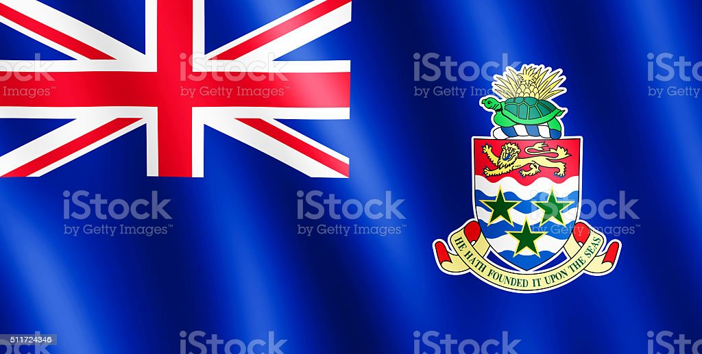 Flag of Cayman Islands waving in the wind stock photo