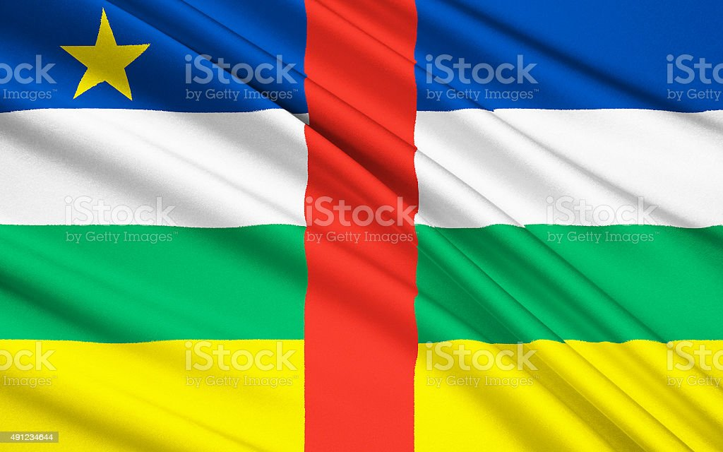 Flag of Central African Republic, Bangui (CAR) stock photo