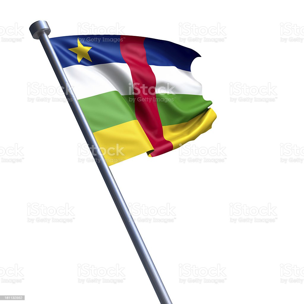 Flag of Central African Republic, the -  isolated on white stock photo