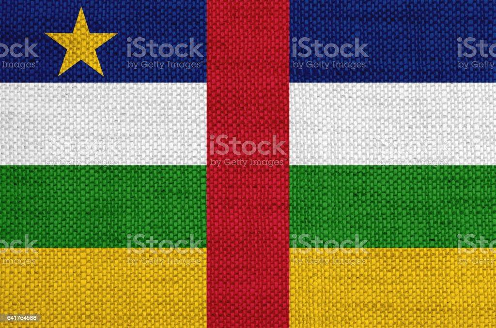 Flag of Central African Republicon old linen stock photo