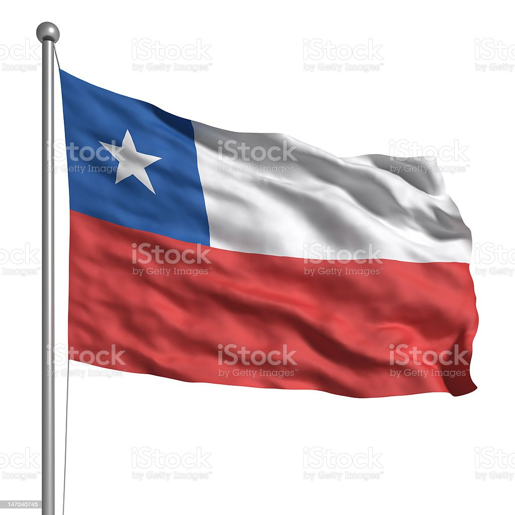 Flag of Chile (Isolated) stock photo