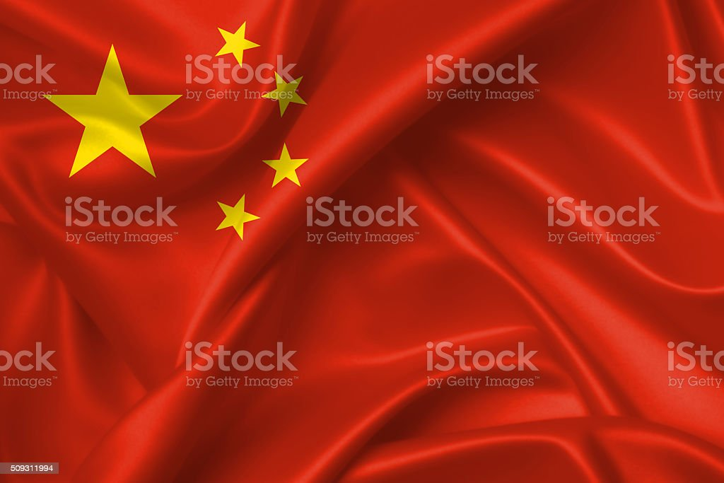 Flag of China 3D, silk texture stock photo