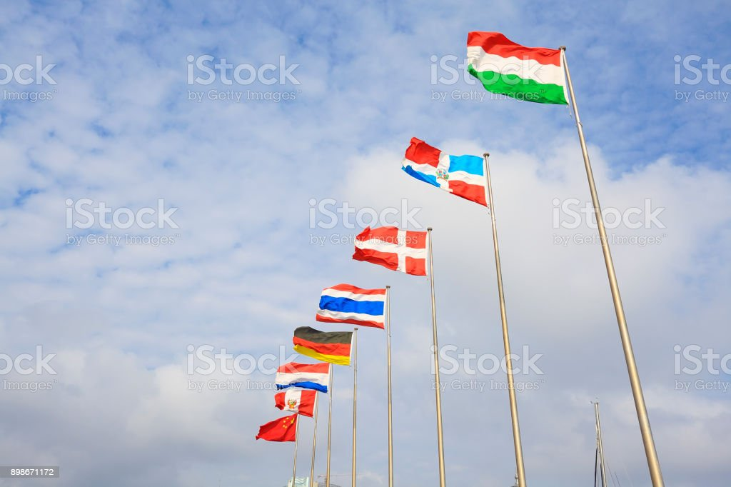 Flag of China and Hungary and Dominican and Republic and Denmark and Thailand and Germany 'nand Netherlands and Peru stock photo