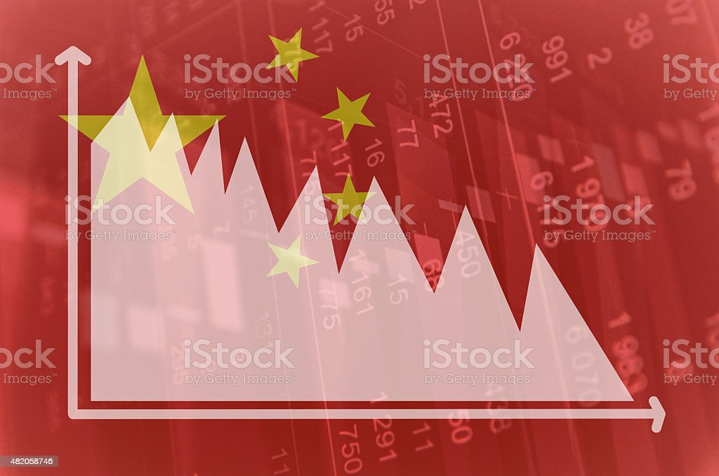 Flag of China. Downtrend diagram on background. stock photo