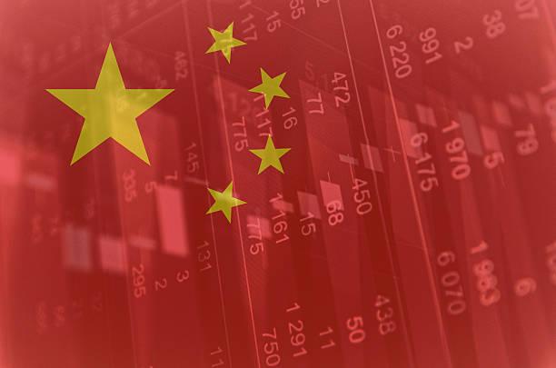 Flagge von China. Finanzdaten auf den Hintergrund. – Foto
