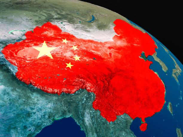 Bandera de China desde el espacio - foto de stock