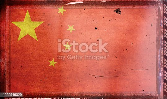 Flag of China, on a grunge film frame