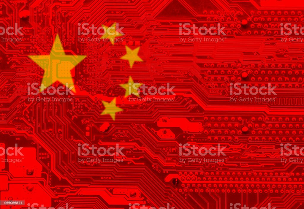 Flag of China Computer plate and flag of China Abstract Stock Photo