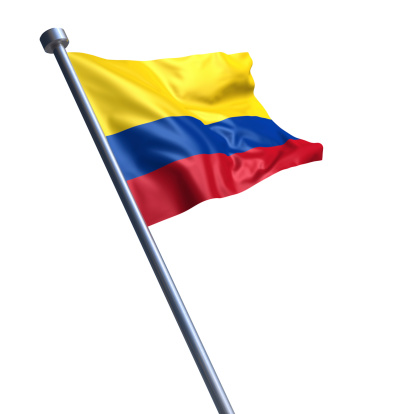 Flag of the Republic of Colombia on modern metal flagpole.
