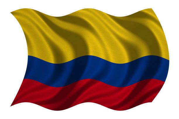 bandera de colombia ondulado en blanco, textura de la tela - bandera colombiana fotografías e imágenes de stock