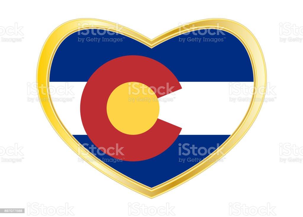 Flag of Colorado in heart shape, golden frame stock photo