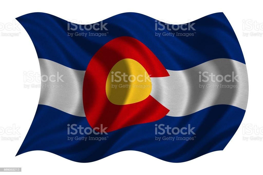 Flag of Colorado wavy on white, fabric texture stock photo