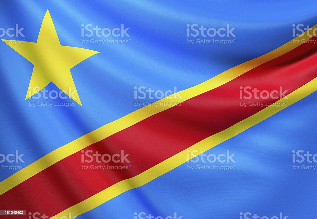 Flag of Congo, Democratic Republic o f the (Zaire) stock photo