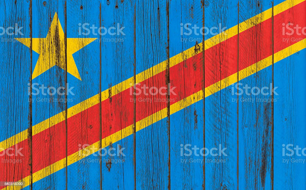 Flag of Congo painted on wooden frame stock photo