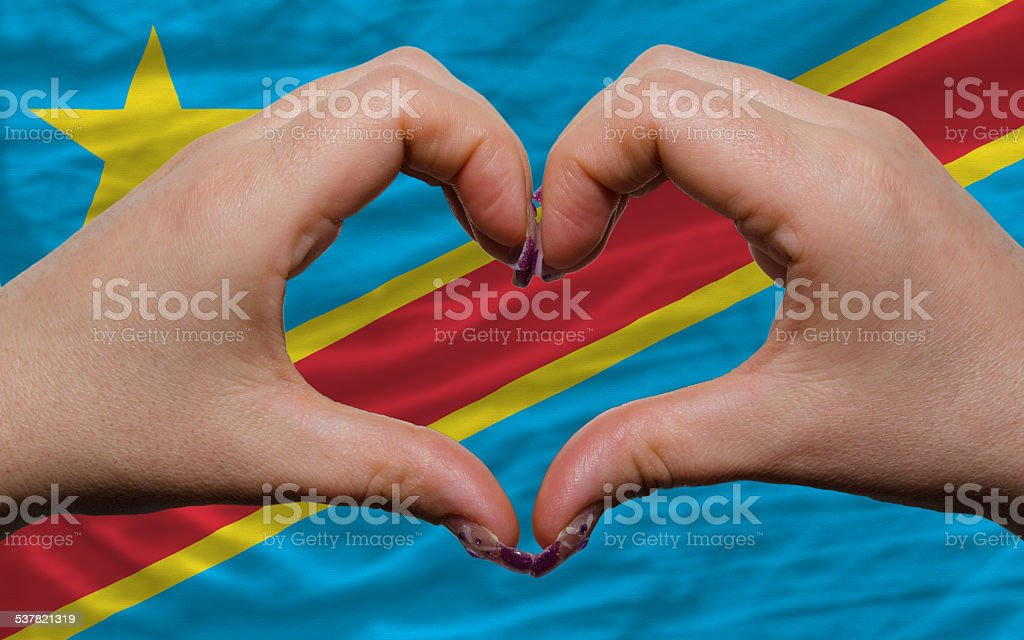 flag of congo showed heart and love gesture stock photo