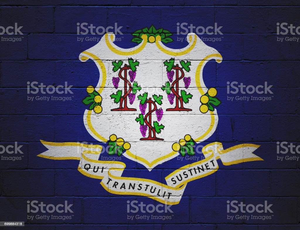 Flag of Connecticut painted on a wall stock photo