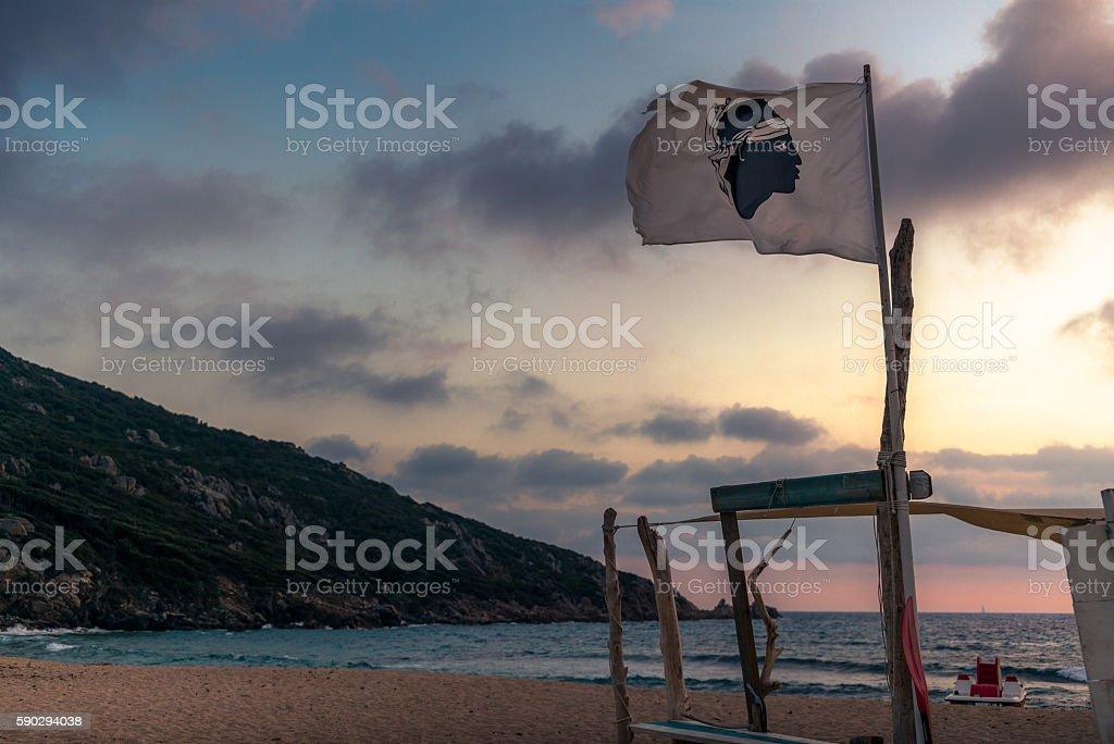 flag of Corsica on a beach at sunset royaltyfri bildbanksbilder
