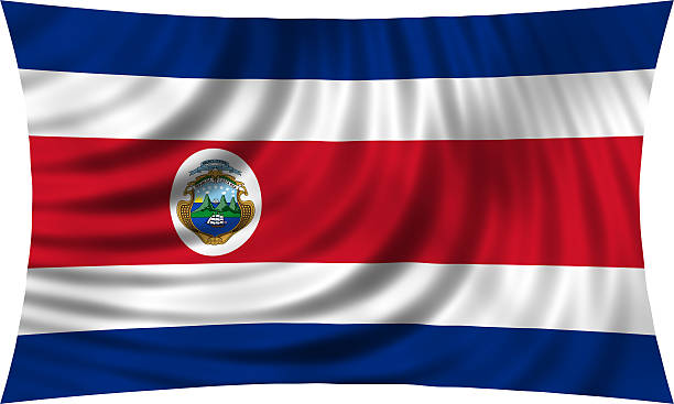 Flag of Costa Rica waving isolated on white - foto de stock