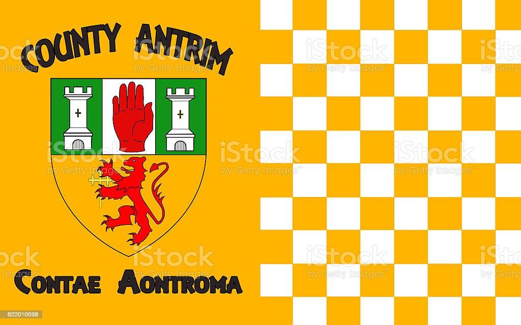 Flag of County Antrim in Ireland stock photo