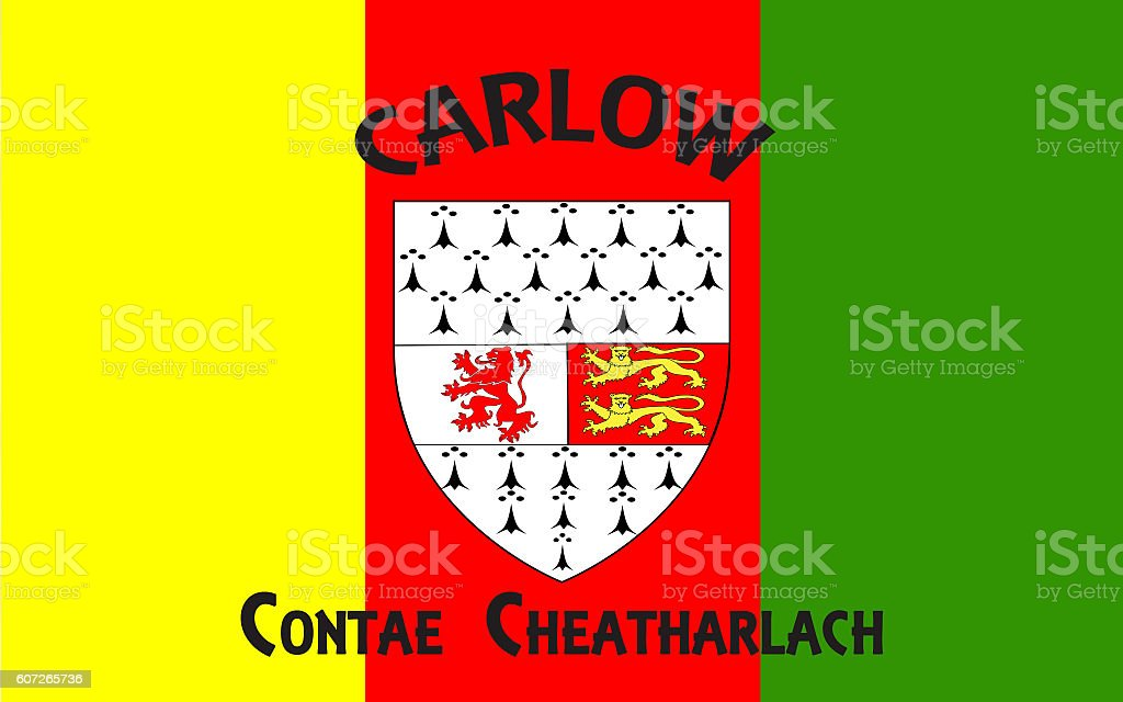 Flag of County Carlow is a county in Ireland stock photo