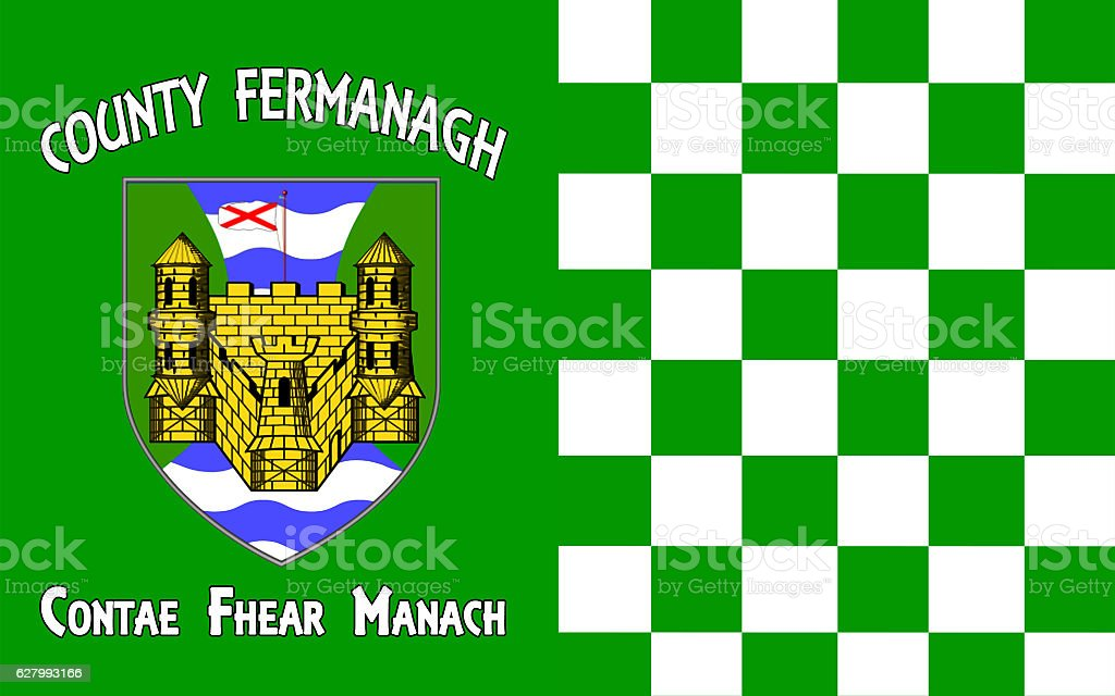 Flag of County Fermanagh in Northern Ireland stock photo