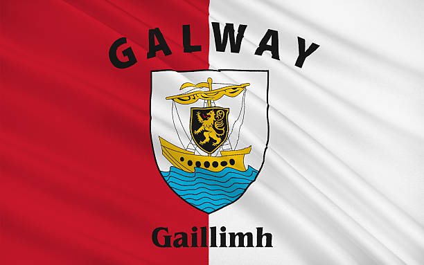 Flag of County Galway in the West of Ireland stock photo