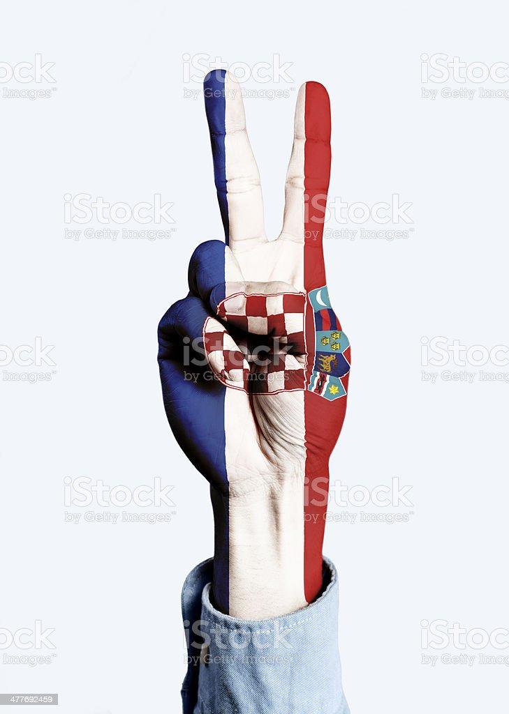 Flag of Croatia hand sign royalty-free stock photo