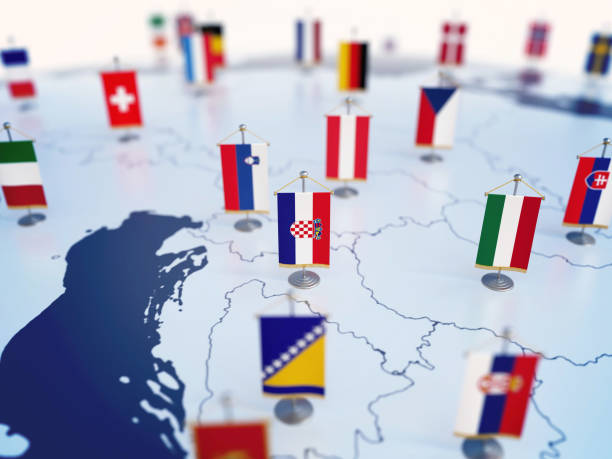 Flag of Croatia in focus among other European countries flags Flag of Croatia in focus among other European countries flags. Europe marked with table flags 3d rendering croatian culture stock pictures, royalty-free photos & images