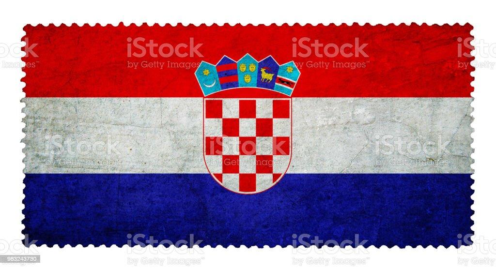 Bandeira da Croácia em fundo de selo postal grunge isolado - foto de acervo