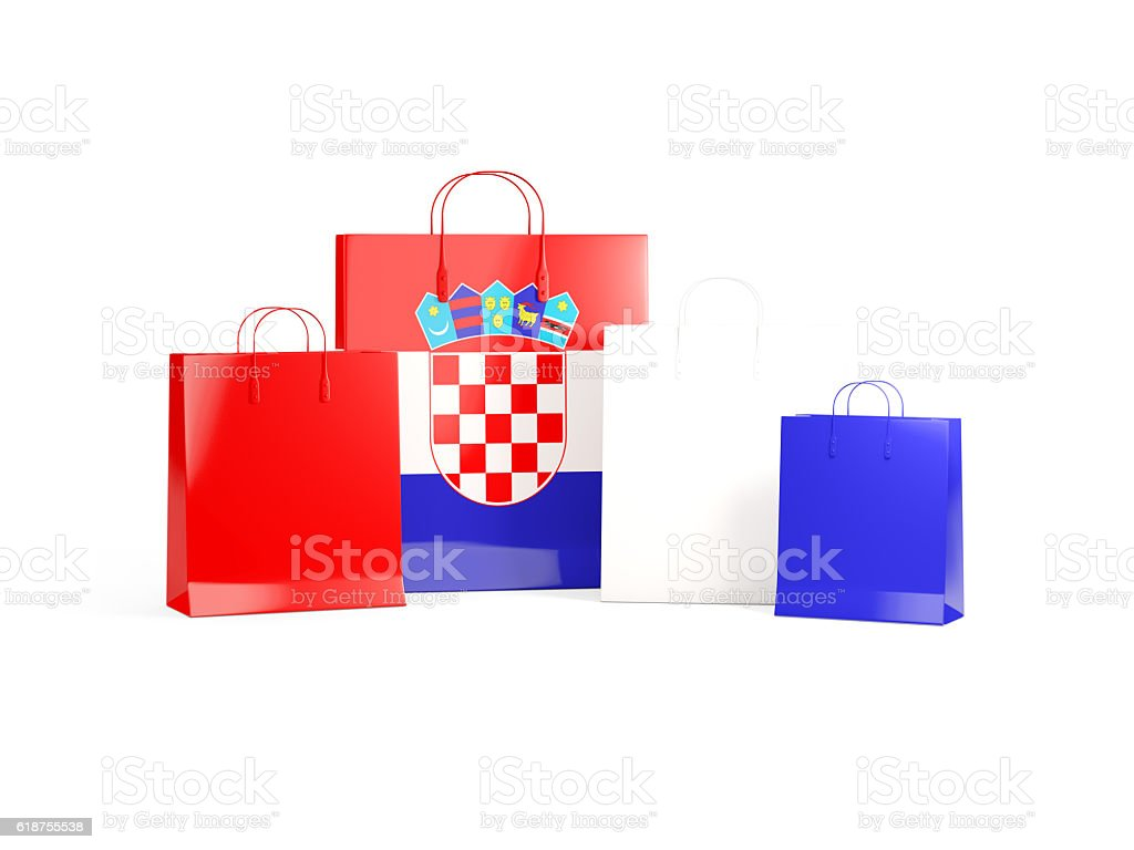 Flag of croatia on shopping bags stock photo
