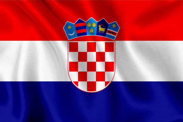 Bandeira da Croácia acenando fundo - foto de acervo