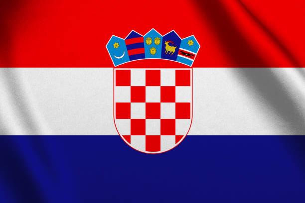Bandera de Croacia que agita el fondo - foto de stock