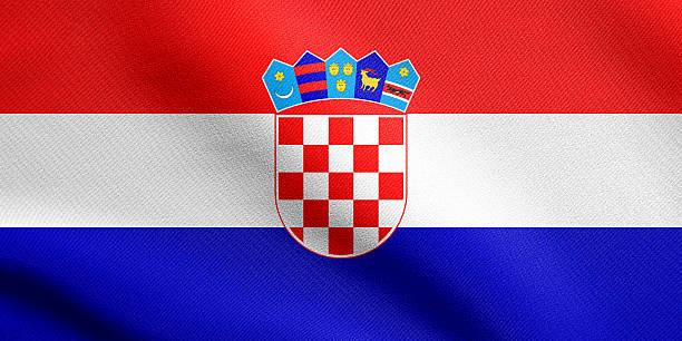 Flag of Croatia waving with fabric texture - foto de acervo